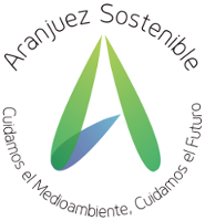 """Logo de Aranjuez Sostenible con el lema circular """"Cuidamos el Medioambiente, Cuidamos el Futuro"""""""