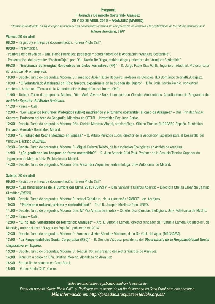 Cartel con el programa de las II Jornadas Desarrollo Sostenible Aranjuez